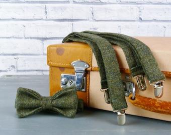 Tweed Bow Tie and Braces/Suspenders set - Dark Green Yorkshire Birdseye Tweed