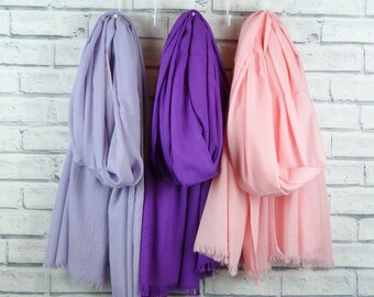 Lightweight Frayed Cotton Scarf - Various Colours available, Lilac, Purple, Pink