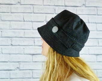 Womens Cloche Hat - Charcoal Yorkshire Wool Twill with Grey Contrast Button, Womens Hat