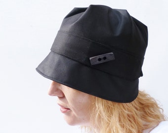 Waxed Cotton Rain Hat - Black