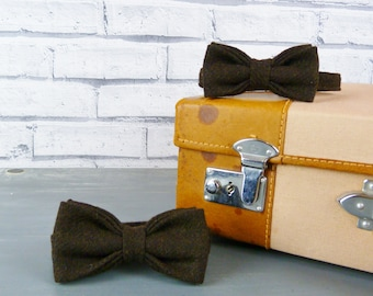 Father and Son Bow Tie Set - Yorkshire Wool Tweed, Dark Brown Twill