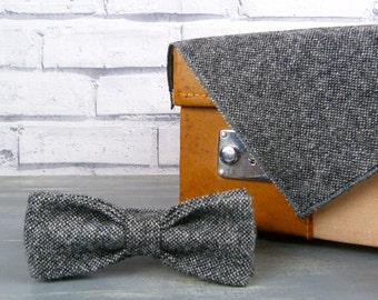 Skinny Bow Tie and Pocket Square - Black Grey Birdseye Yorkshire Tweed