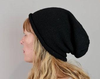 British Shetland Wool Slouchy Beanie hat - Black, Eco Friendly