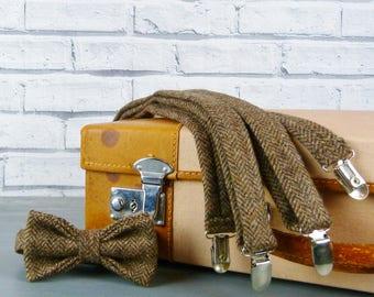 Tweed Bow Tie and Braces/Suspenders set - Brown Herringbone Yorkshire Tweed