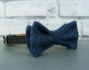 Dog Bow Tie - Yorkshire Herringbone Tweed - Navy, Tweed Bow Tie for Dogs
