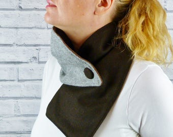 Women's Colour Block Buttoned Scarf - Grey/Brown Yorkshire Wool Twill