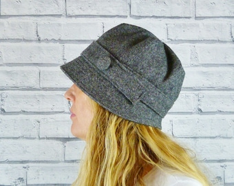 Womens Cloche Hat - Black/Grey Yorkshire Tweed, Womens Hat