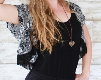 Black Paisley Crop Kimono