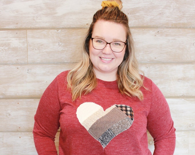 Red Katie Cares Heart Sweater