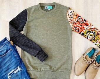 Color Block Sweatshirt - Olive Green, Black Coral Floral