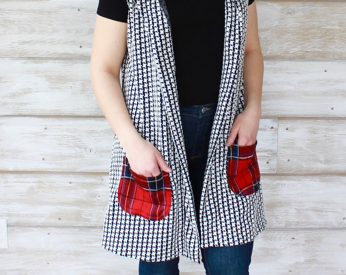 Long Vest with Plaid Pockets
