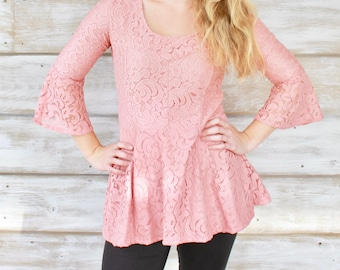 Bell Sleeve Peplum Top - Pretty in Pink Lace - Size Small