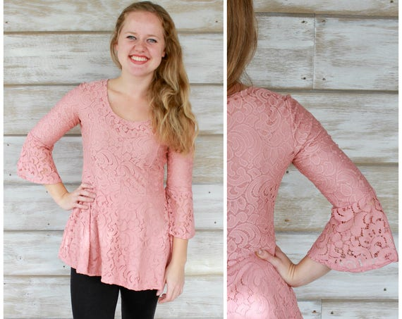Bell Sleeve Peplum Top - Pretty in Pink Lace