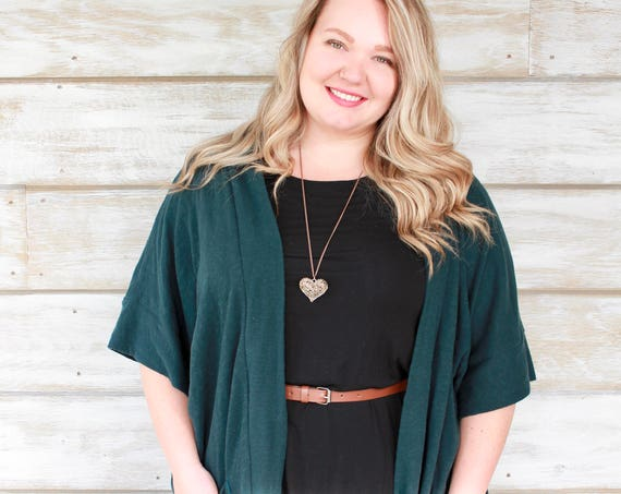 Knit Cardigan Sweater, Oversized Cardigan, Short Sleeve Cardigan, Short Sleeve Sweater, Plus Size Clothing, Plus Size Sweater, Teal Blue