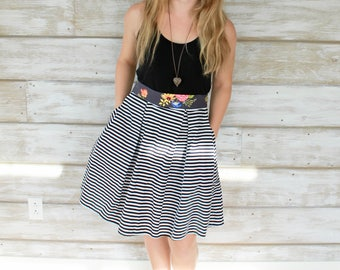 S/M Striped Skirt, Midi Skirt, Cotton Skirts, Pleated Skirts, Christmas Gift Idea, Gifts for Her, Womens Skirts, A Line Skirts for Women