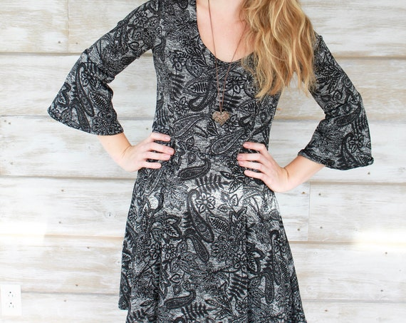 Bell Sleeve Sweater Dress - Dark Paisley