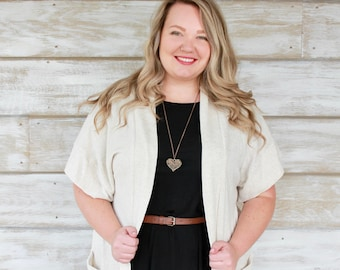 Oatmeal Cardigan with Brown Button Pocket