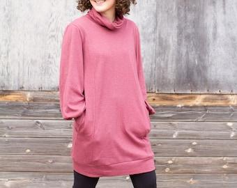 Cowl Neck Sweatshirt Dress With Pockets - Dusty Pink