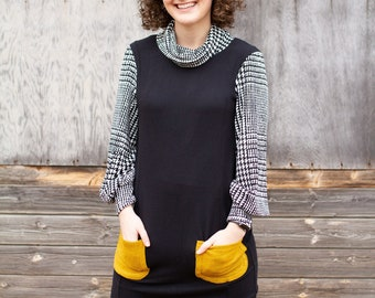 Cowl Neck Sweatshirt Dress With Pockets - Black, White and Mustard Yellow