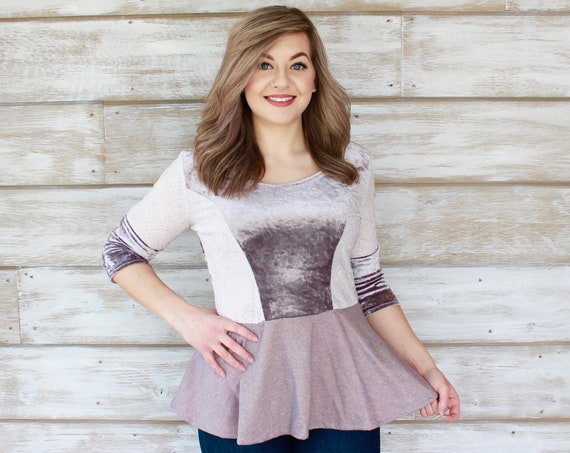 3/4 Sleeve Retro Peplum Top - Lilac