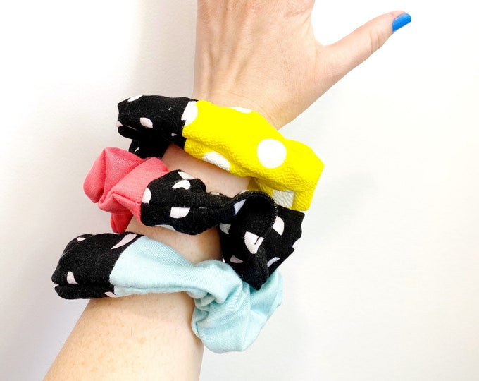 Polka Dot Scrunchies - Coral, Mint, Yellow Polka Dot