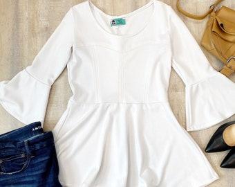 White Bell Sleeve Shirt, Peplum Tops for Women, White Tops, White Shirt for Women, Heidiandseekboutique, Spring Fashion, Bell Sleeve Top