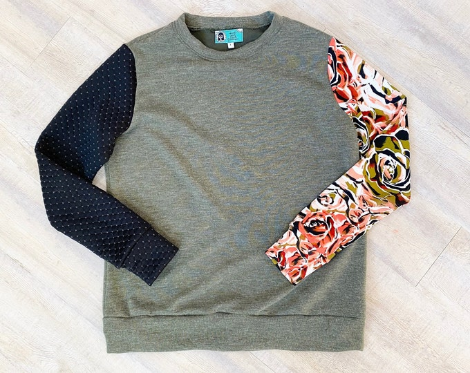 Color Block Sweatshirt - Olive Green, Black Coral Floral