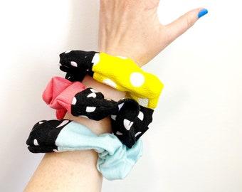Polka Dot Scrunchie - Mint, Coral, Yellow Polka Dot