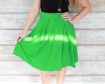 Lime Green Polka Dot Skirt