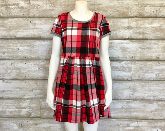 Red Plaid Smock Dress