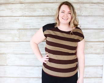 Striped Tee - Brown