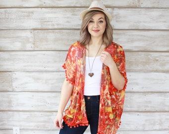 Pom Pom Kimono - Red/Orange