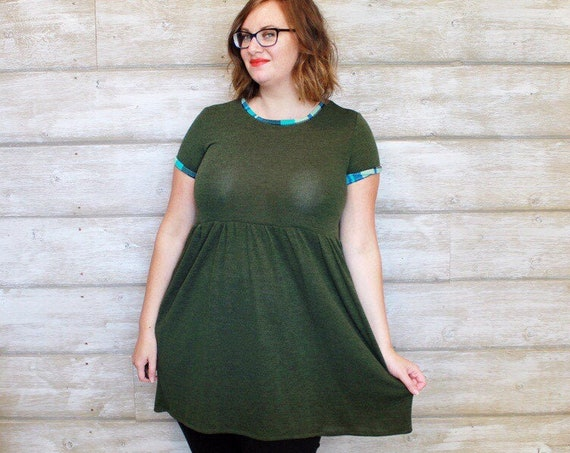 Olive and Aqua Babydoll Dress