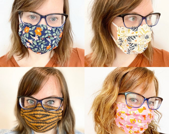 Adjustable Mask in Canada, Masks for Women, Mask with Nose Wire, Face Mask Washable, Reversible Mask, HeidiandSeek, Adult Masks