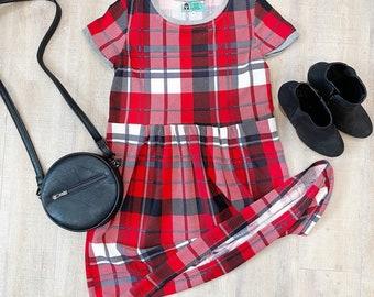 Red Plaid Smock Dress