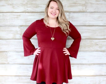 Bell Sleeve Dress - Burgundy Cherry