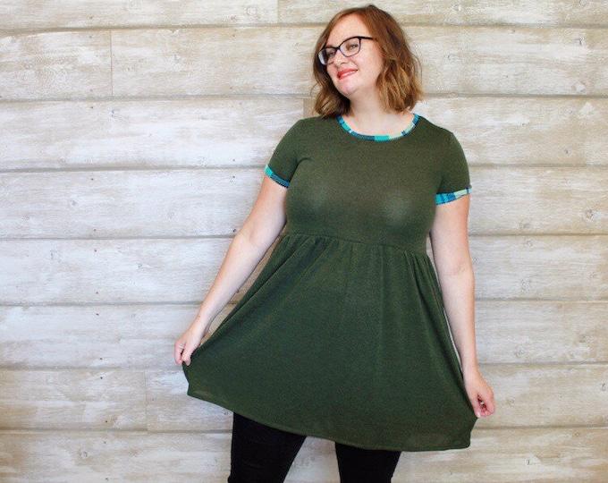Olive and Aqua Babydoll Dress