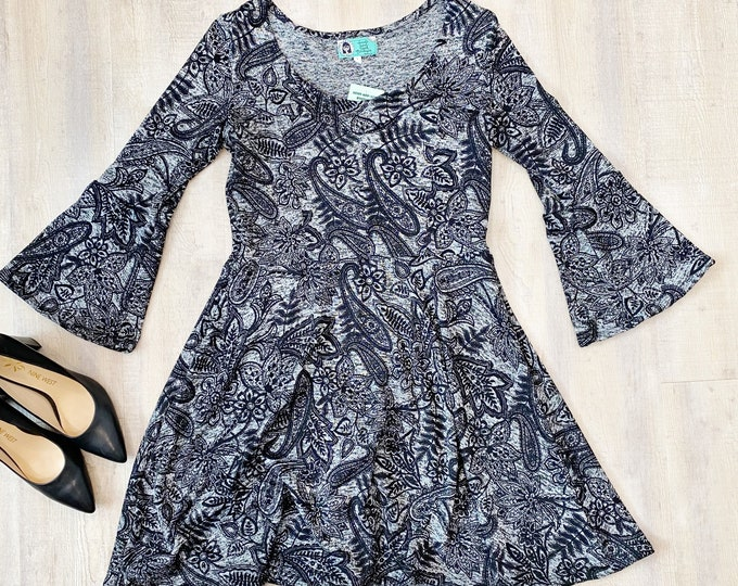 Bell Sleeve Sweater Dress - Dark Paisley