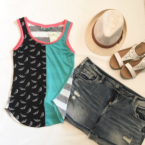 Tank Tops for Women, Striped Tops, Feather Print Fabric, Loose Tops, Summer Tops, Summer Fashion, Watermelon Tank Top, Tops for Women