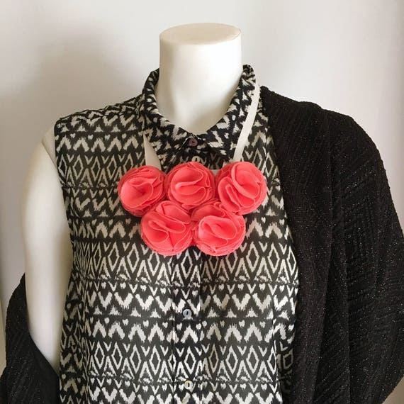 Statement Necklaces Pink, Fabric Flower Necklace, Chunky Bold Necklaces, Necklaces for Women, Bib Necklace, Bohemian Jewellery, Necklaces