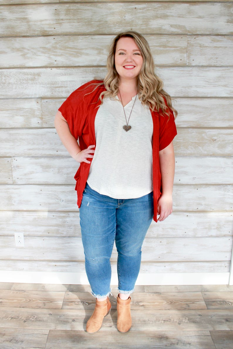 Red Plus Size Cardigan Slouch Cardigan Womens Cardigans image 0
