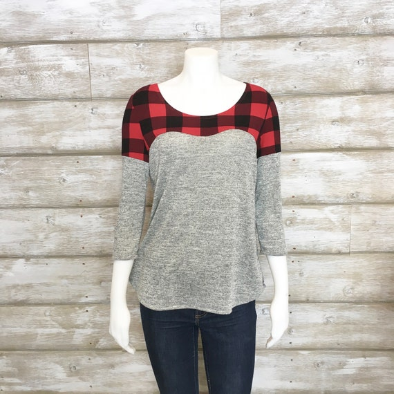 MEDIUM 3/4 Sleeve Shirt, Plaid Shirt, Buffalo Plaid Fabric, Grey Sweater, Womens Knit Tops, Knit Tops, Long Sleeve Tshirt, Heidi and Seek