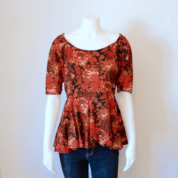 Retro Peplum Top - Brown/Orange