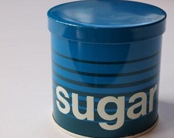 Vintage Blue Sugar Tin Canister