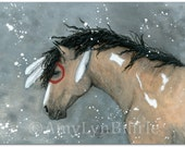 Majestic Horse Bucksin Dun Pinto Curly Stallion Portrait - ArT Prints by Bihrle mm92