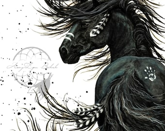 Majestic Horses -Wild Spirit Black Painted Horse Stallion Friesian Feathers- Prints by AmyLyn Bihrle mm65