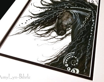 SALE - Save 10 - One of a Kind - Custom hand embellished print. Black N White Ink & pencil. - Fine Art Prints by Bihrle