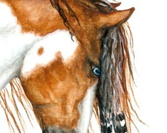 Majestic Horses - Two Versions - Wild Spirit Black Painted Horse Stallion Friesian Feathers- Prints by AmyLyn Bihrle mm103