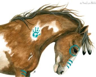 Majestic Horses - Dreams War Paint Pinto Spirit Feathers - Fine ArT Prints by Bihrle mm156