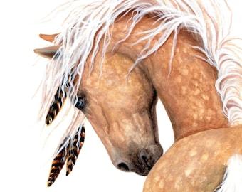 Majestic Horse Dappled Palomino with Blue Eye- Fine Art Prints by Bihrle mm139b